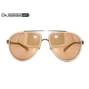 Linda Farrow Sunglasses New Aviator Bronze Gold Mi